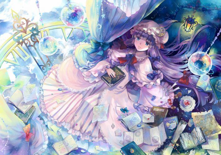 blue eyes book bow dress drink ekita gen long hair paper patchouli knowledge purple hair touhou wallpaper