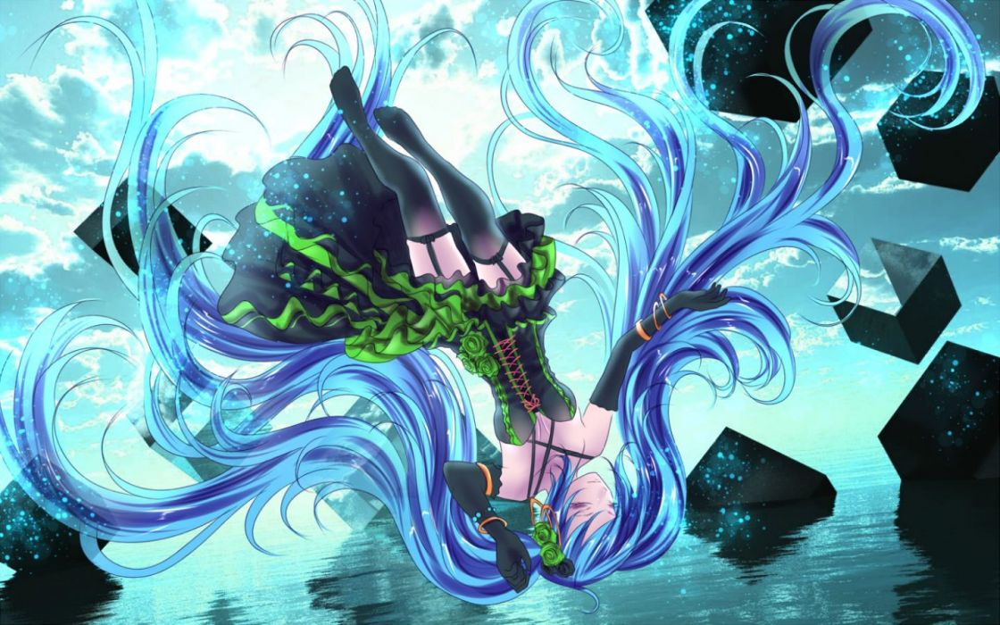 blue hair hatsune miku long hair stockings twintails vocaloid water yusuke wallpaper