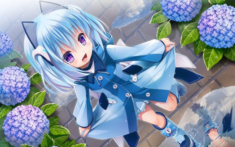 blue hair boots flowers hoodie purple eyes rain sanshou short hair water wallpaper