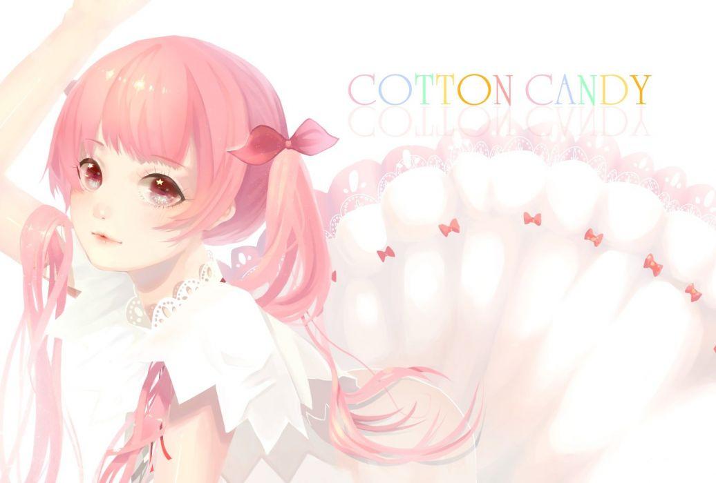 long hair original pink eyes pink hair tagme (artist) twintails wallpaper
