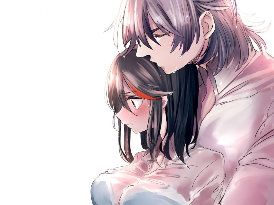 blush breasts kill la kill kiss male matoi ryuuko mikisugi aikurou see through tagme (artist) wet white wallpaper