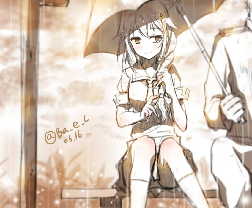 boyogo braids kantai collection kneehighs monochrome rain sei shigure (kancolle) signed sketch umbrella water wallpaper