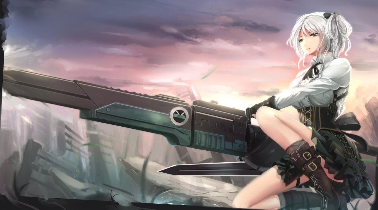 boots bow ciel (god eater) corset gloves god eater gray eyes gun kikivi skirt weapon white hair wallpaper