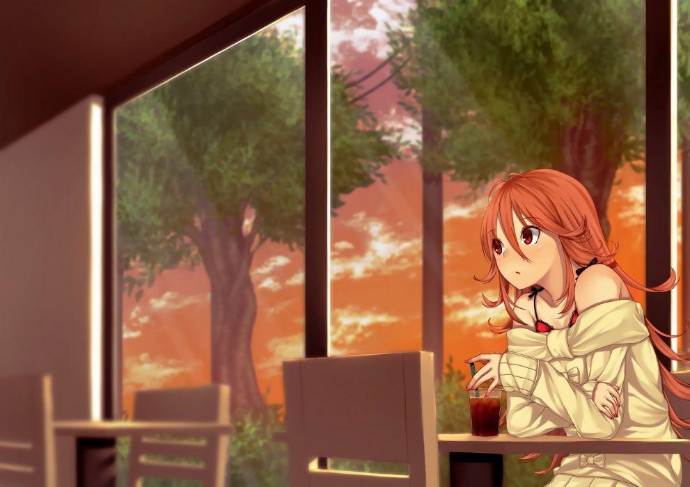 drink long hair mikazuchi zeus orange hair red eyes scenic sunset tokyo 7th sisters tree usuta sumire wallpaper