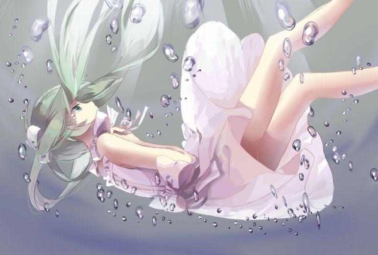 bubbles dress green eyes green hair hatsune miku hitomi95 long hair summer dress underwater vocaloid water wallpaper