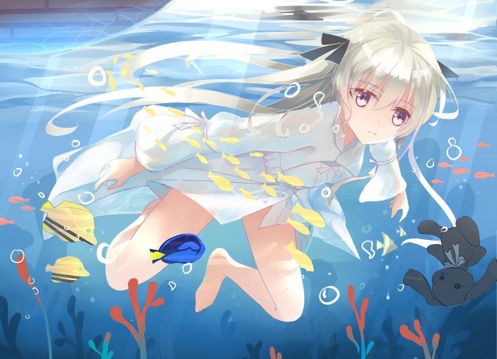 animal barefoot bubbles fish kasugano sora l l long hair ribbons underwater water yosuga no sora wallpaper