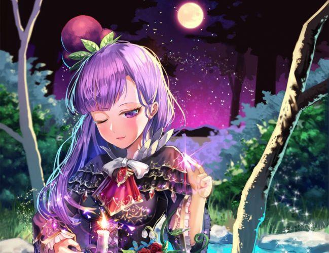 flowers grass hat long hair moon night original purple eyes purple hair rose shoonear stars tie tree water wink wallpaper