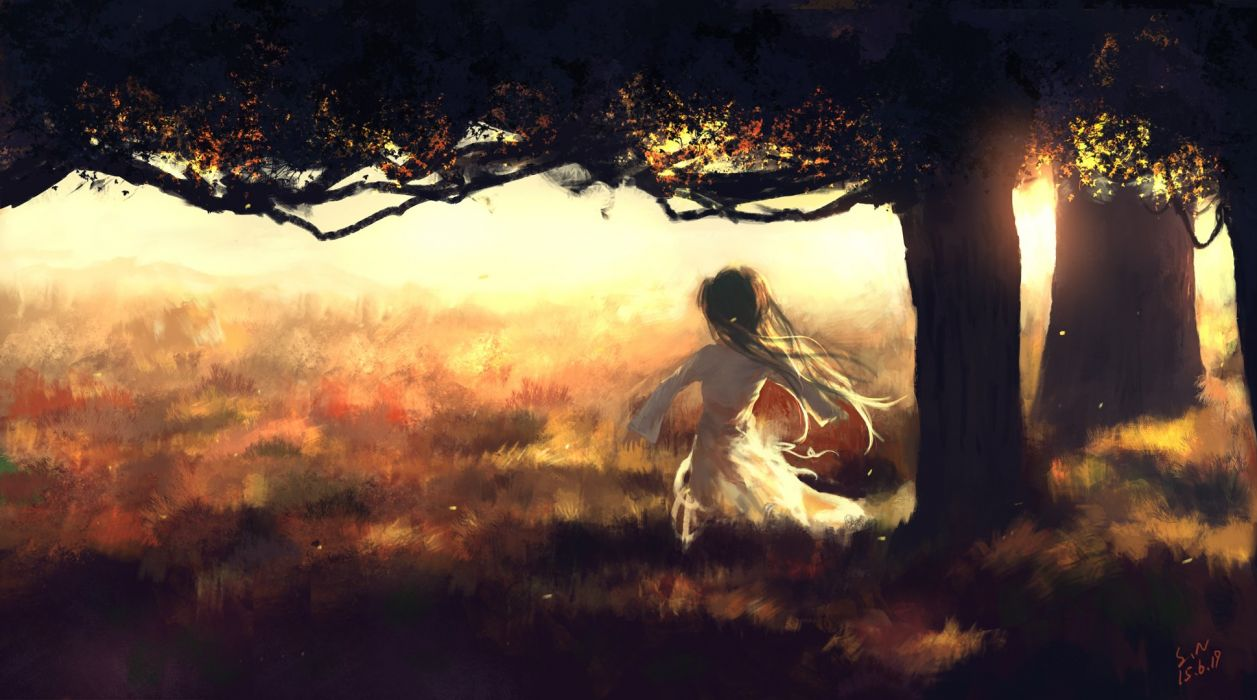dress grass landscape long hair scenic sombernight tree wallpaper