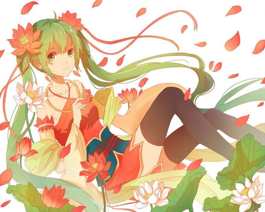 dress flowers green eyes green hair hatsune miku lan jue necklace petals thighhighs twintails vocaloid zettai ryouiki wallpaper