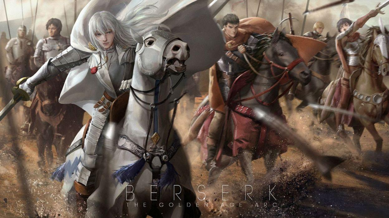 Animal Armor Behelit Berserk Caska Corvus Griffith Guts Horse Lightofheaven Male Rickert Sword Weapon White Hair