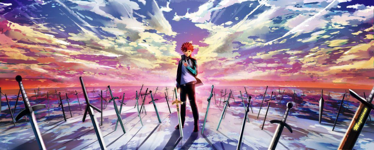 male clouds dualscreen emiya shirou fate stay night magicians male red hair scenic short hair sky sword weapon wallpaper