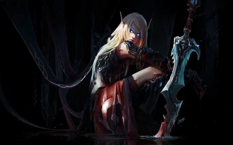 armor blood blue eyes chenbo dark long hair pointed ears signed sword weapon world of warcraft wallpaper