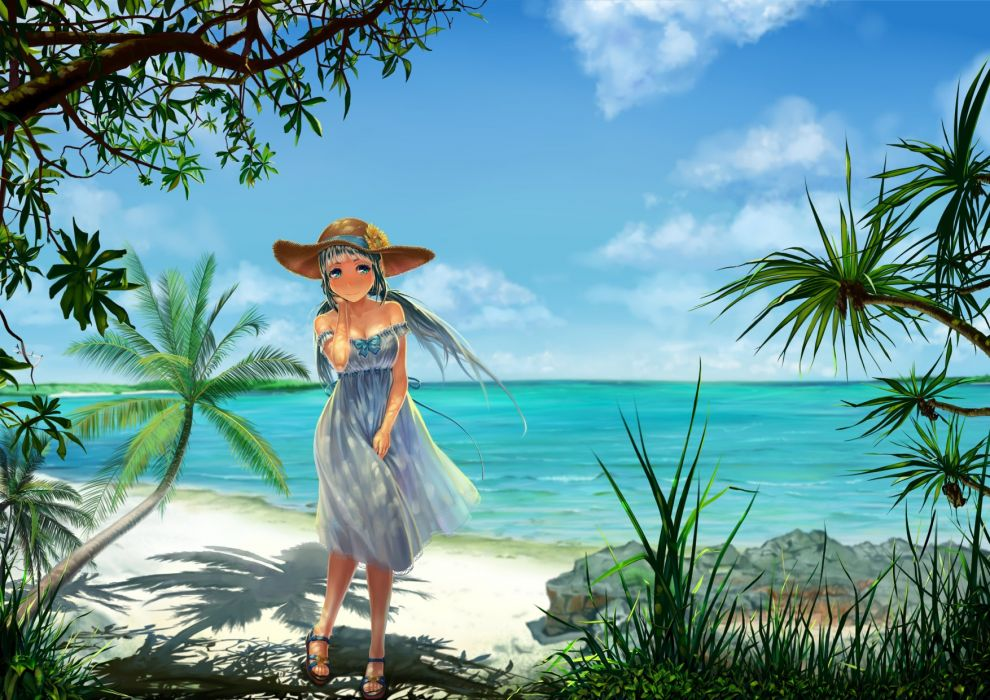 aqua eyes beach blue hair blush breasts calpis-tan cleavage clouds grass hat leaves long hair scenic sky summer dress tree twintails water wallpaper