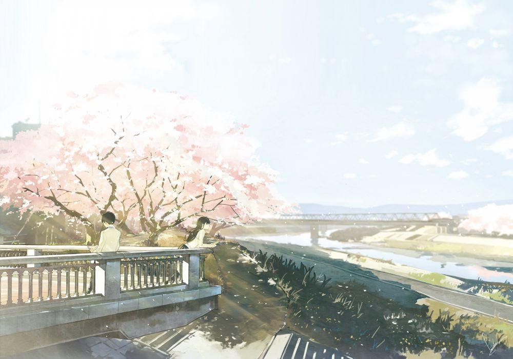 black hair book cherry blossoms kneehighs long hair loundraw male original park scenic seifuku sky wallpaper