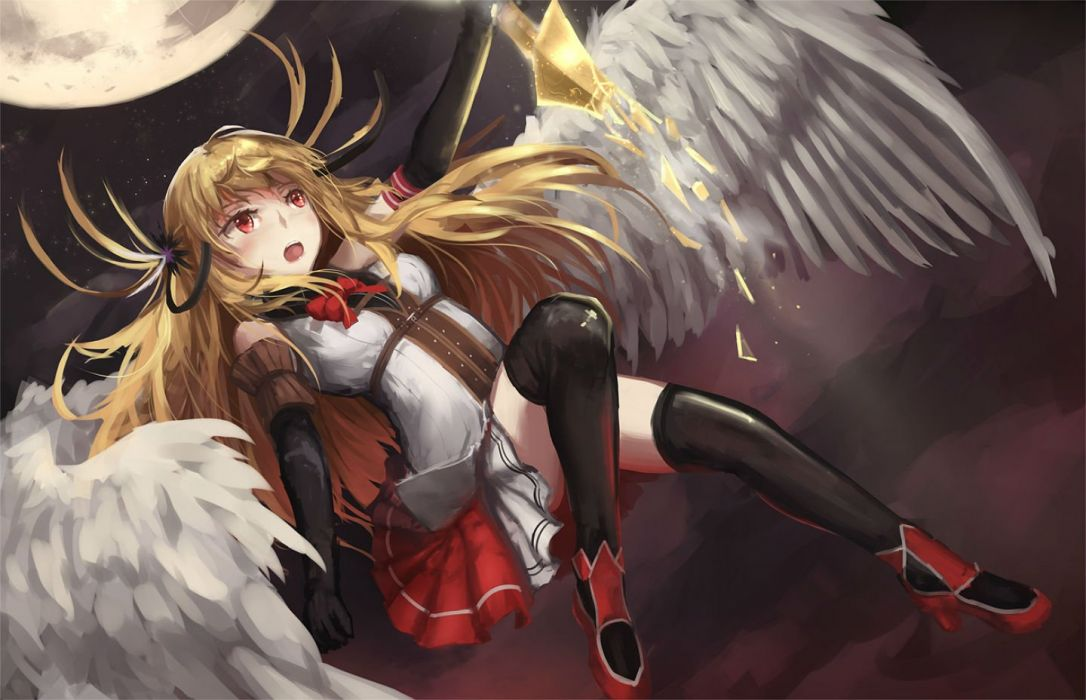 blonde hair boots elbow gloves long hair moon newnand red eyes thighhighs wings wallpaper