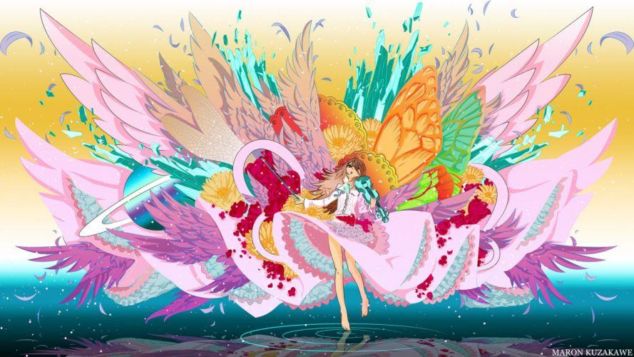 barefoot brown hair flowers instrument long hair red eyes skirt tagme violin water wings wallpaper