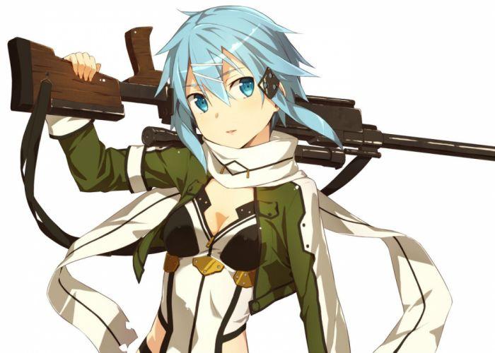 blue eyes blue hair gun kinta (distortion) shinon (sao) short hair sword art online weapon white wallpaper