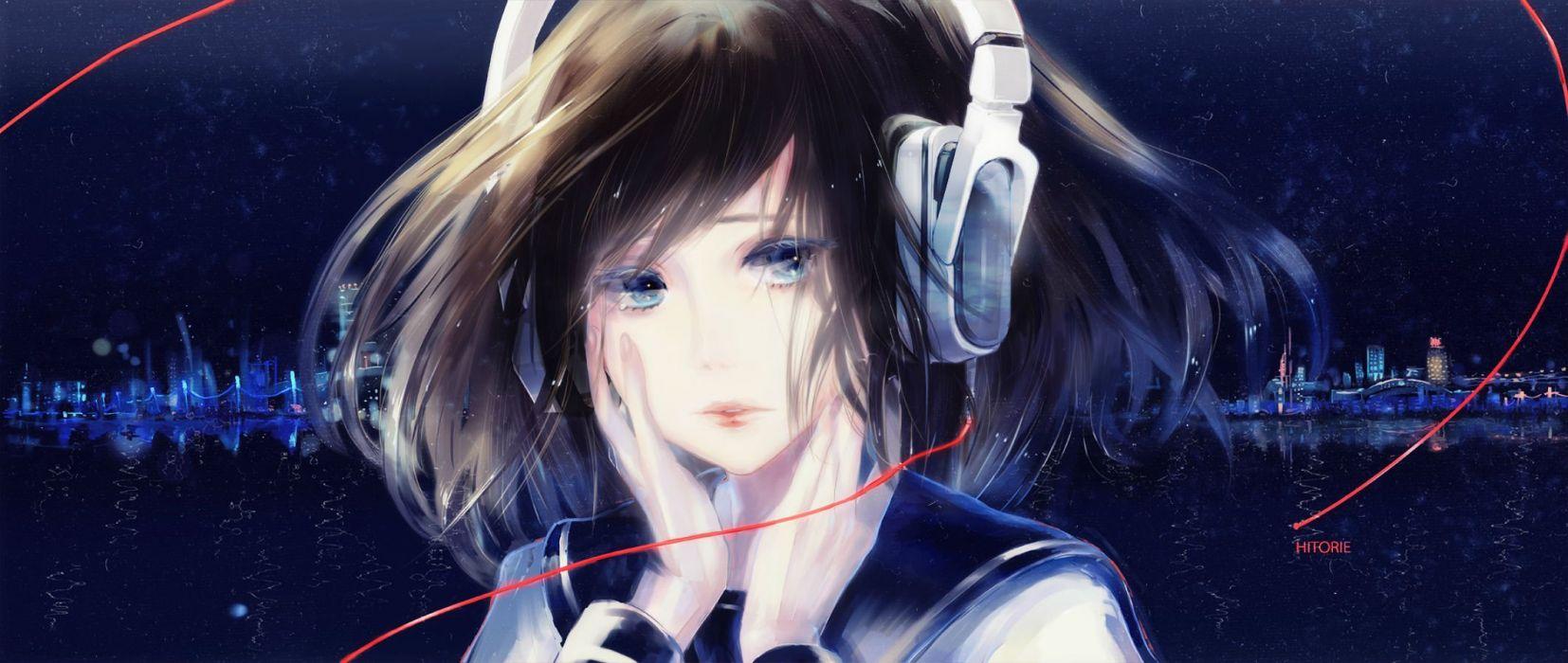 blue eyes brown hair city dualscreen headphones night scenic seifuku tagme (artist) water wallpaper