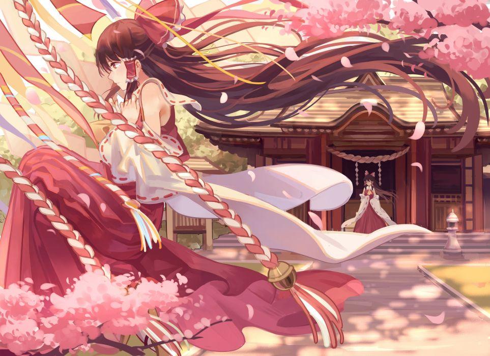 bow brown hair cherry blossoms hakurei reimu japanese clothes long hair miko petals shrine touhou zicai tang wallpaper
