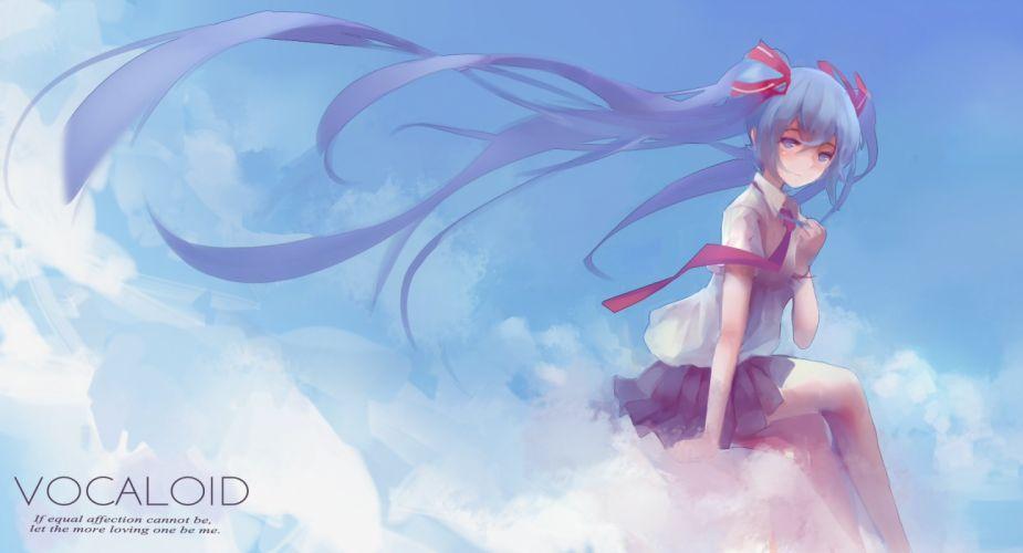 clouds hatsune miku long hair seifuku sky twintails vocaloid wallpaper