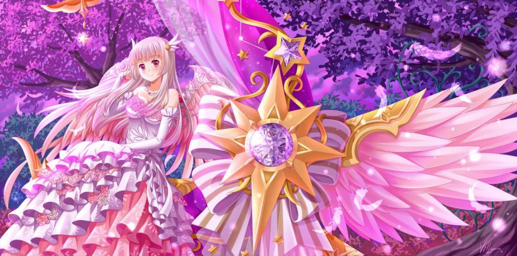 dress elbow gloves feathers lolita fashion long hair necklace pink eyes tagme tree villyane white hair wallpaper