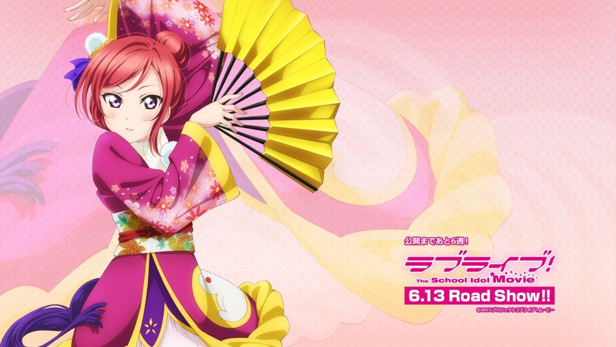 fan japanese clothes love live! school idol project nishikino maki purple eyes red hair tagme (artist) wallpaper