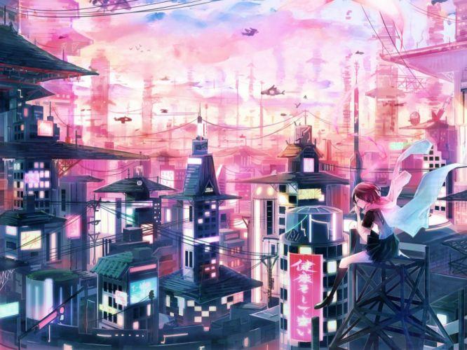 aircraft animal bird brown hair building city clouds inaeda kei kneehighs ninja slayer scarf scenic seifuku short hair skirt sky yamoto koki wallpaper
