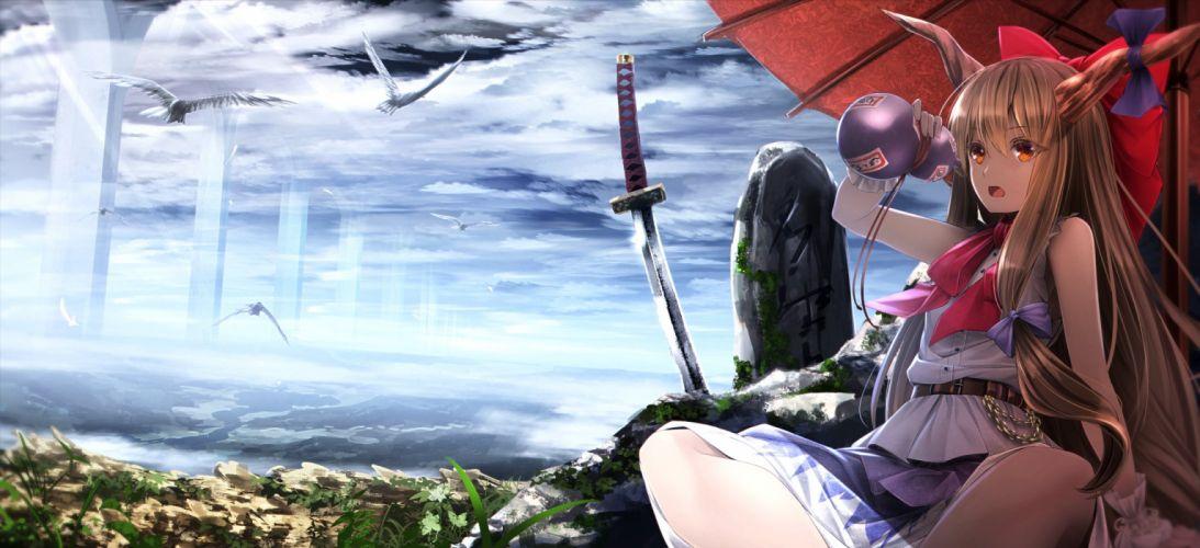 animal bird bow brown eyes brown hair chain drink horns ibuki suika katana long hair ryosios scenic sword touhou weapon wallpaper