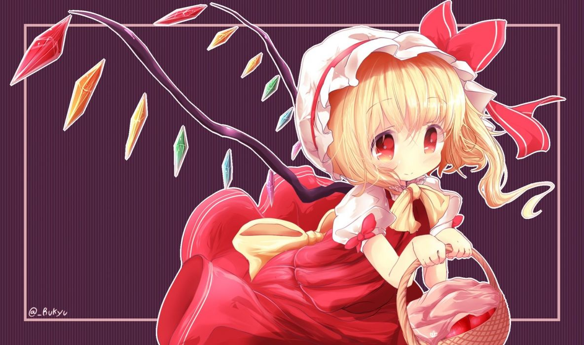 apple blonde hair chibi flandre scarlet hat red eyes rukyu short hair signed touhou wings wallpaper