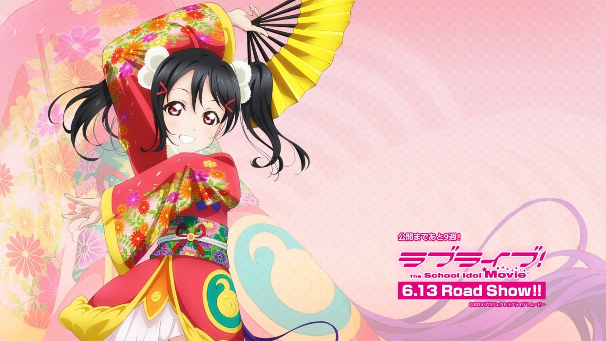 black hair fan japanese clothes love live! school idol project red eyes tagme (artist) twintails yazawa nico wallpaper