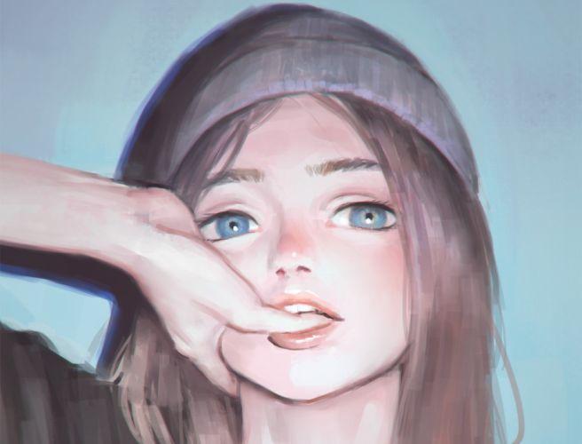blue eyes brown hair close gradient hat long hair nababa original wallpaper