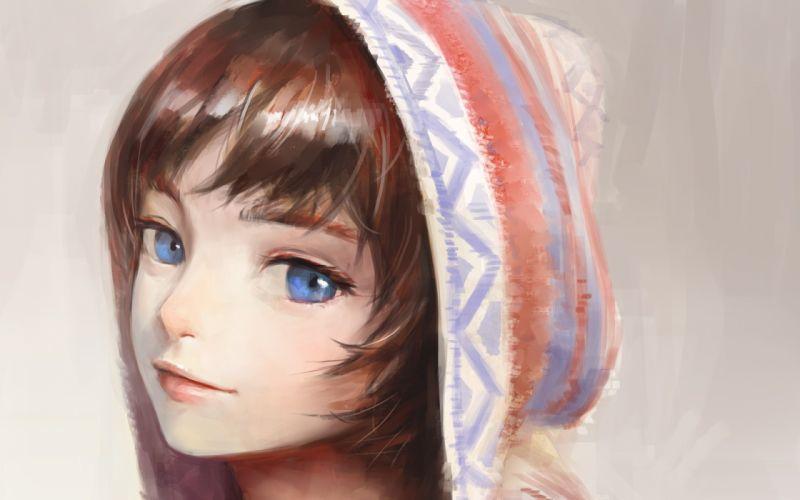 blue eyes brown hair close hoodie nababa original short hair white wallpaper