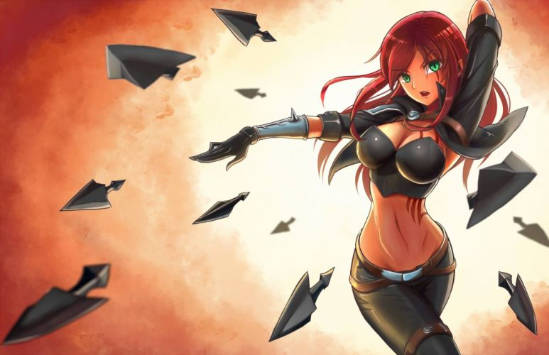 armor breasts chanseven cleavage gloves green eyes katarina league of legends navel red hair skintight weapon wallpaper