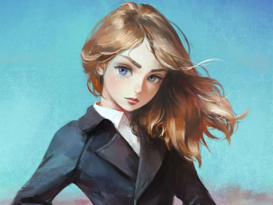 blue blue eyes brown hair long hair nababa original shirt suit wallpaper