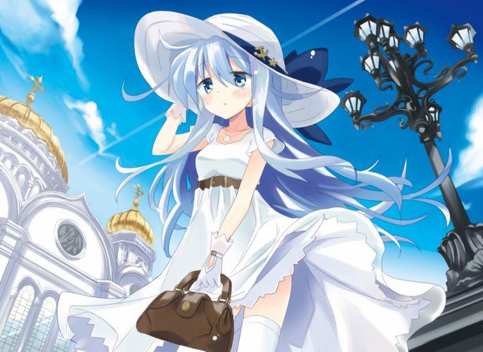 blue eyes blue hair building gloves hat hizuki yayoi kantai collection long hair necklace shrine summer dress thighhighs verniy (kancolle) wallpaper