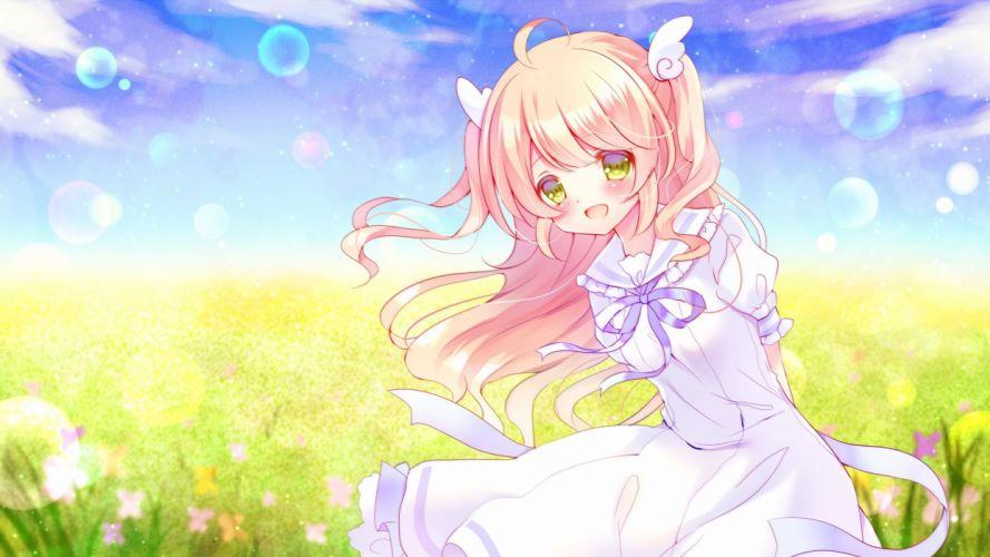 blush dress flowers green eyes long hair original pink hair ribbons yuduki wallpaper