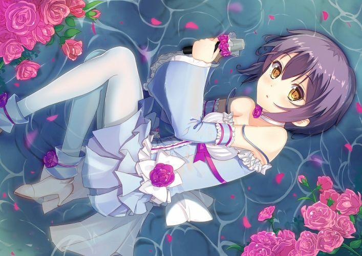 boots brown eyes choker flowers lolita fashion microphone nagato yuki pantyhose petals purple hair rose short hair water wet wallpaper