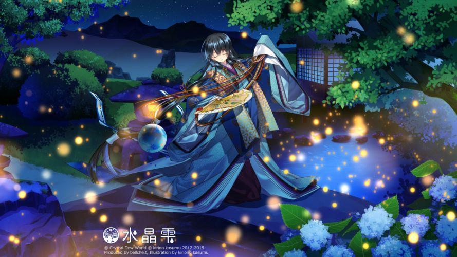 black hair blue eyes building fan japanese clothes kirino kasumu long hair night suishou shizuku watermark yukata wallpaper