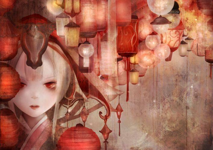 japanese clothes original red eyes white hair zhang xiao bo wallpaper
