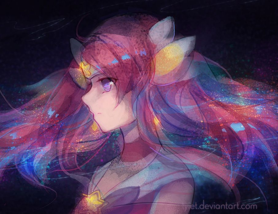 choker headdress league of legends luxanna crownguard lyiet pink hair purple eyes watermark wallpaper