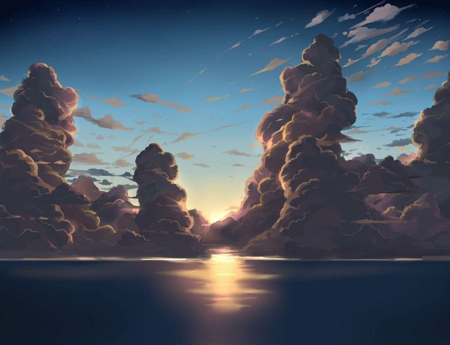 clouds ido (teketeke) nobody original scenic sky sunset water wallpaper