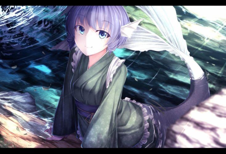 blue eyes long hair mermaid purple hair touhou wakasagihime water waterdog wallpaper