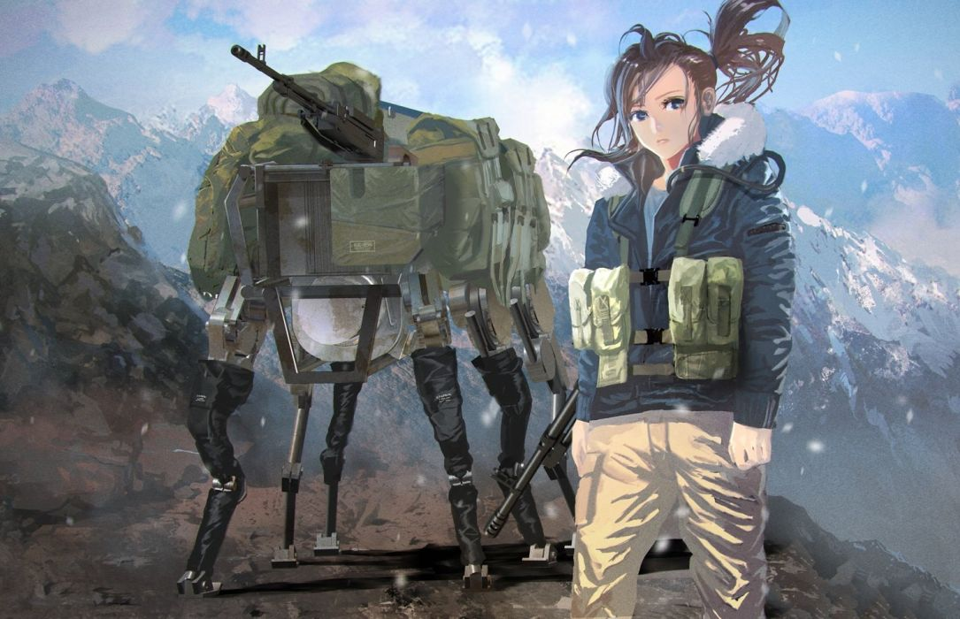brown hair gun hoodie landscape long hair mecha military ponytail robot scenic vanipo weapon wallpaper