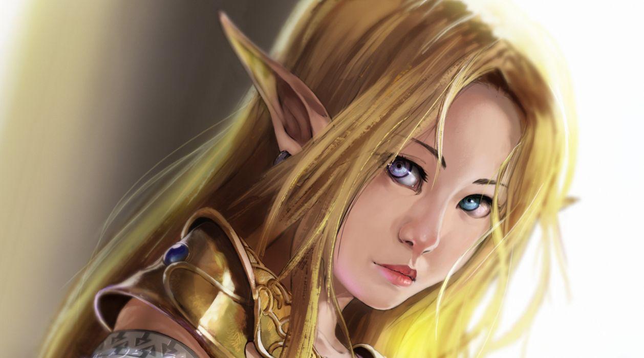 armor bicolored eyes blonde hair close knighthead long hair pointed ears princess zelda realistic wallpaper