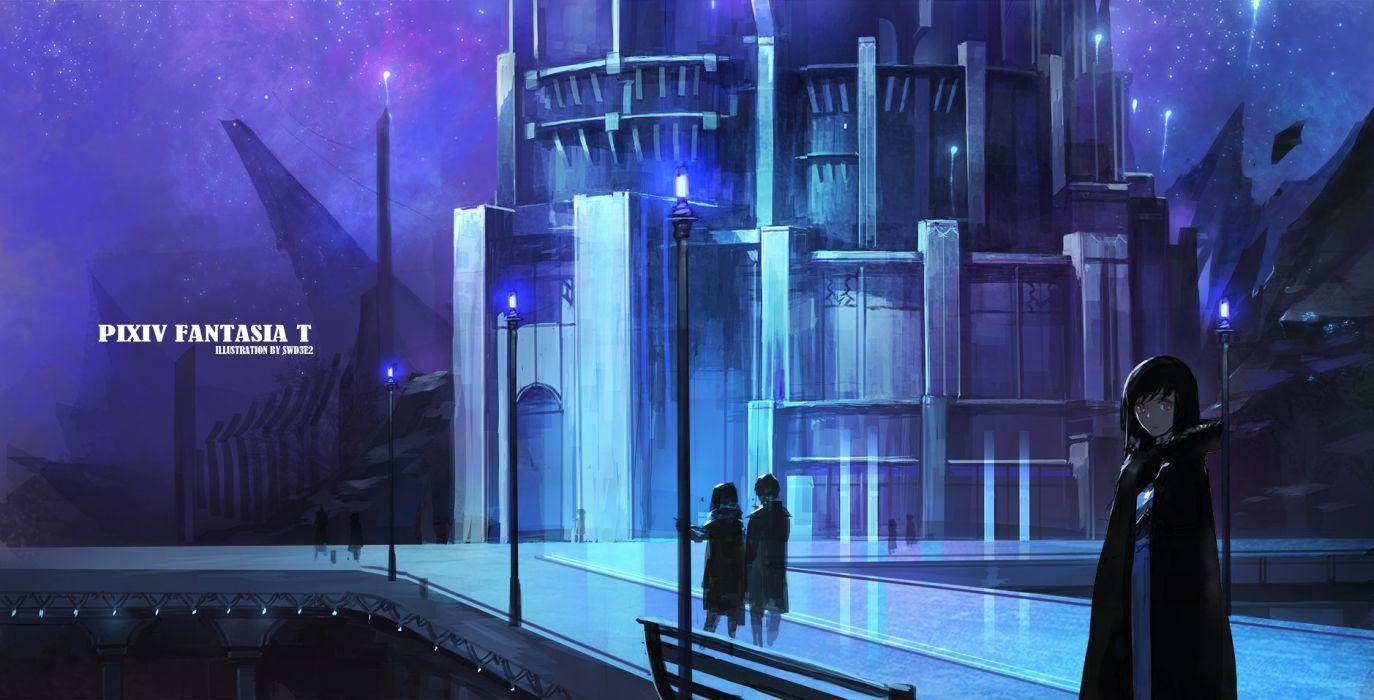 blue building night pixiv fantasia stars swd3e2 watermark wallpaper