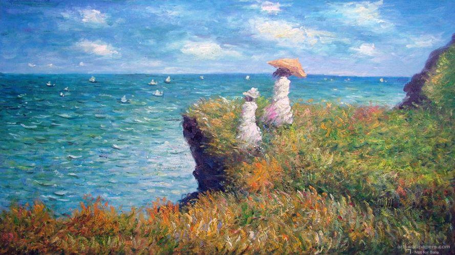 pintura oleo acantilado mujeres mar wallpaper