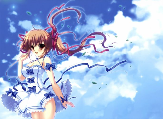 blush bow breasts brown hair cleavage clouds dress long hair mikeou original petals red eyes sky twintails wallpaper