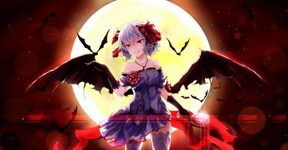 animal bat dress fang moon red eyes remilia scarlet short hair thighhighs touhou vampire white crow wings wallpaper