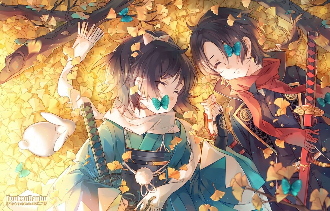 animal butterfly instocklee japanese clothes katana long hair male ponytail rabbit scarf sleeping sword touken ranbu watermark weapon wallpaper