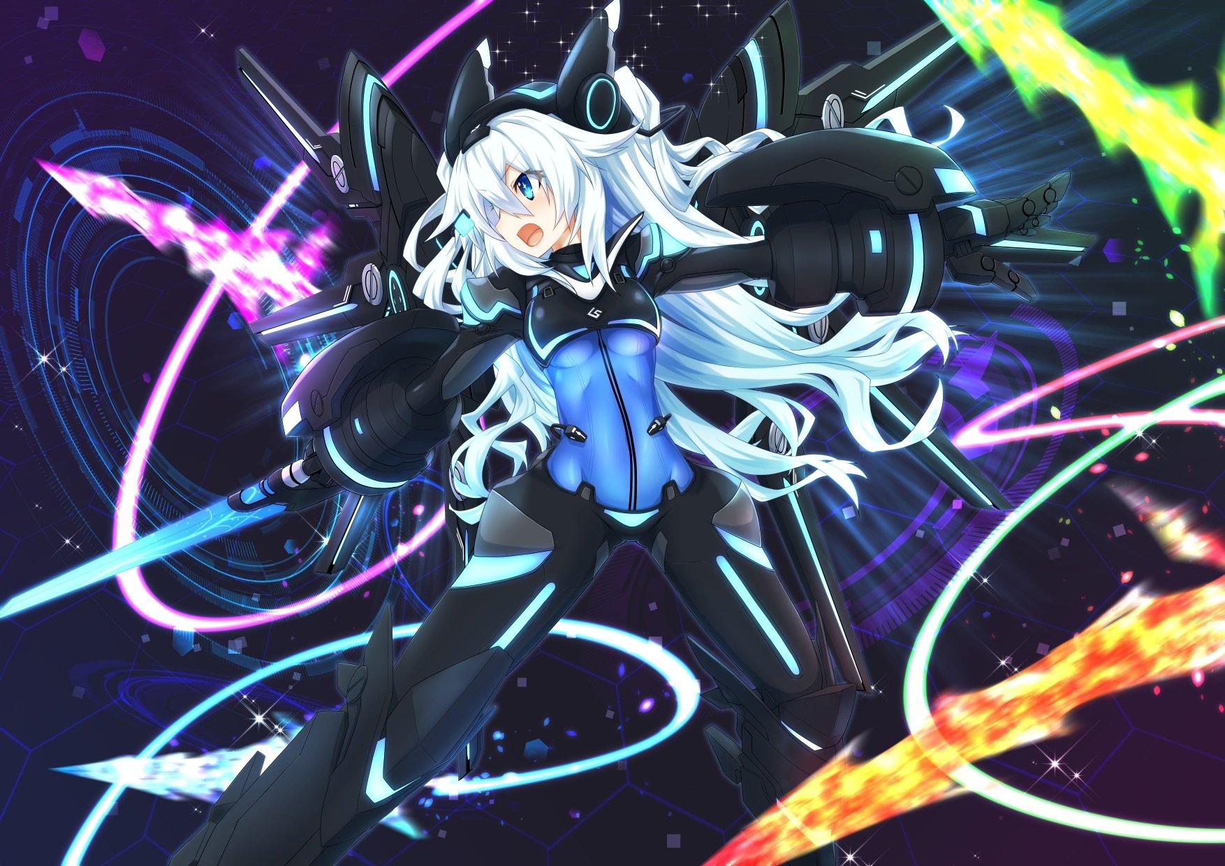 Armor Black Heart Blue Eyes Bodysuit Hyperdimension Neptunia Long